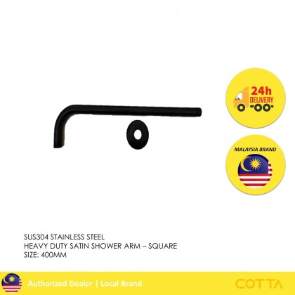 COTTA ICONIA STAINLESS STEEL  HEAVY DUTY SATIN  SHOWER ARM BLACK  ROUND [READY STOCK]
