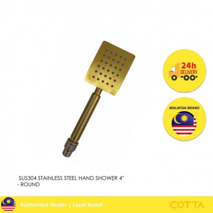 COTTA ICONIA STAINLESS STEEL HAND SHOWER 4'' SQUARE GOLD [READY STOCK]